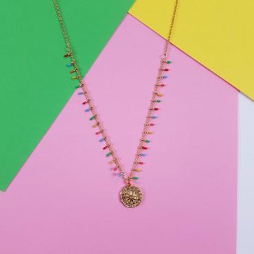 Steel Necklace Rainbow Ch