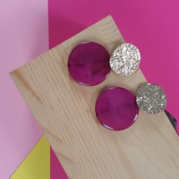 Earrings dark pink and...