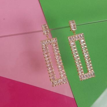 Earrings Square Glitter Gold