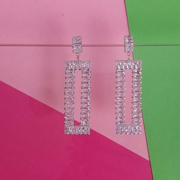 Earrings Square Glitter Silver