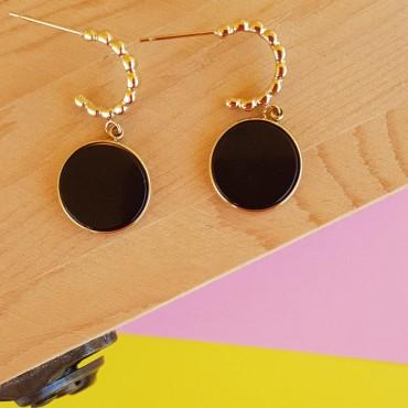 Steel Earrings StoneC Black