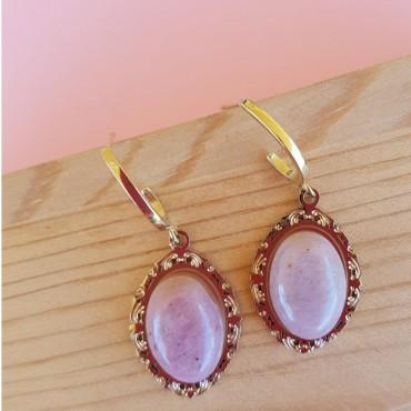 Steel Victorian Earrings Pink