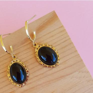 Steel Victorian Earrings Black
