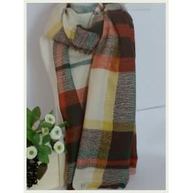 Pañuelo-manta Scotland beig a cuadros 60040