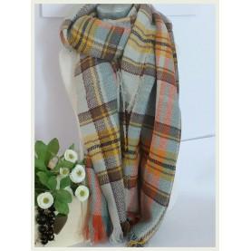 Pañuelo-manta Scotland  beig a cuadros 60041