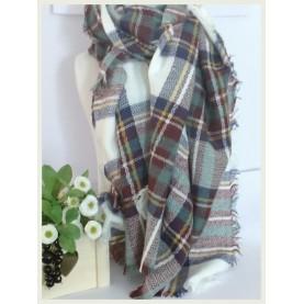 Pañuelo-manta Scotland blanco a cuadros 60043