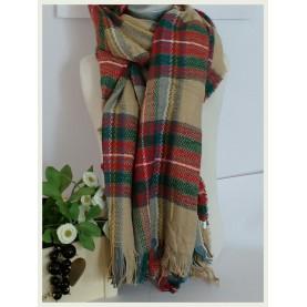 Pañuelo-manta Scotland beig a cuadros 60044