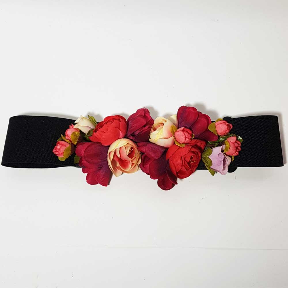Cinturón flores rojo