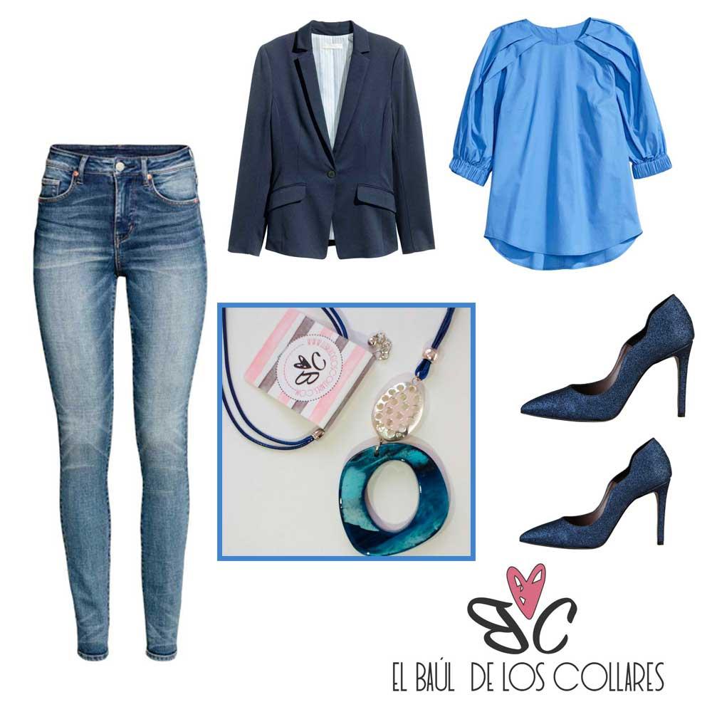 look con camisa azul