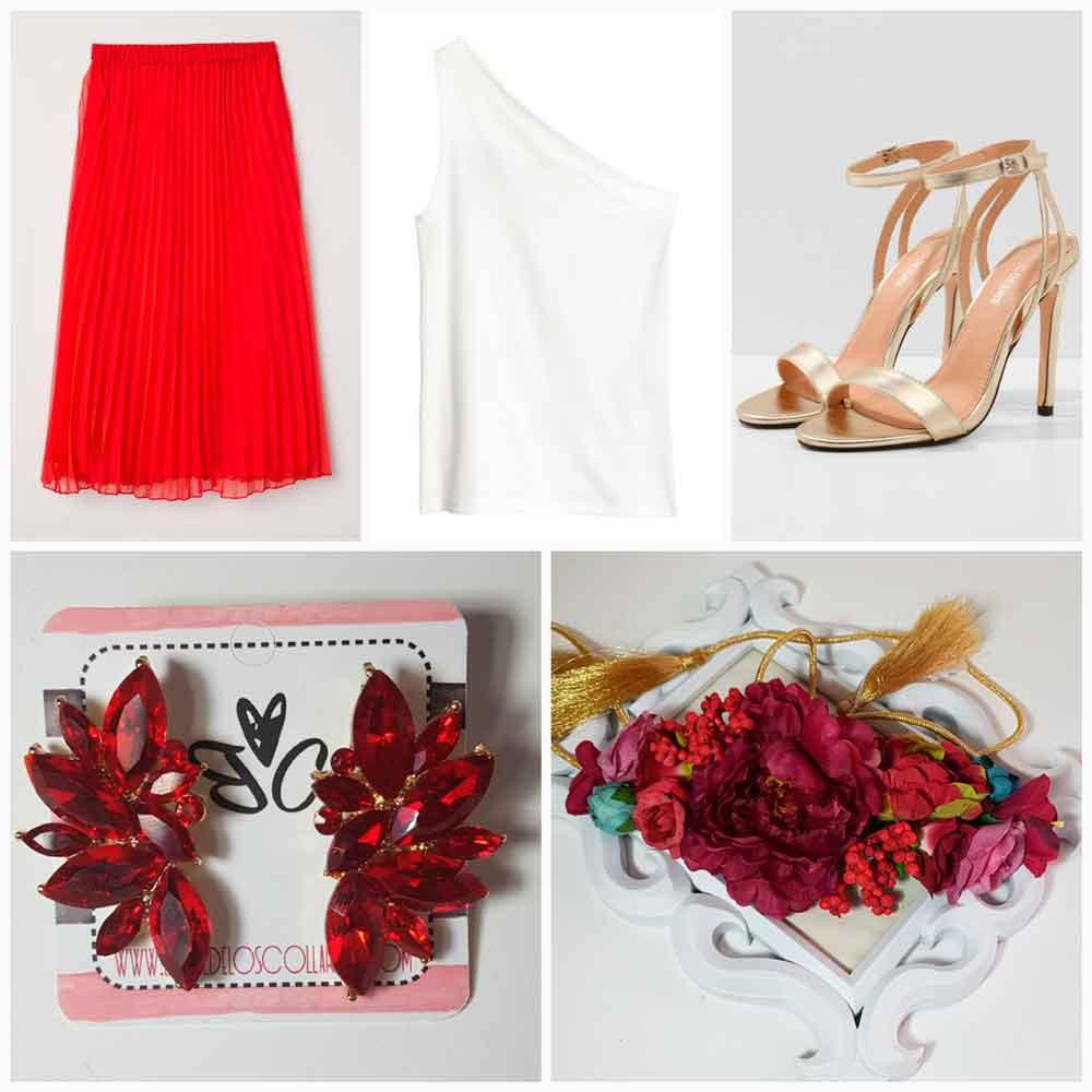 Look rojo con cinturón de flores