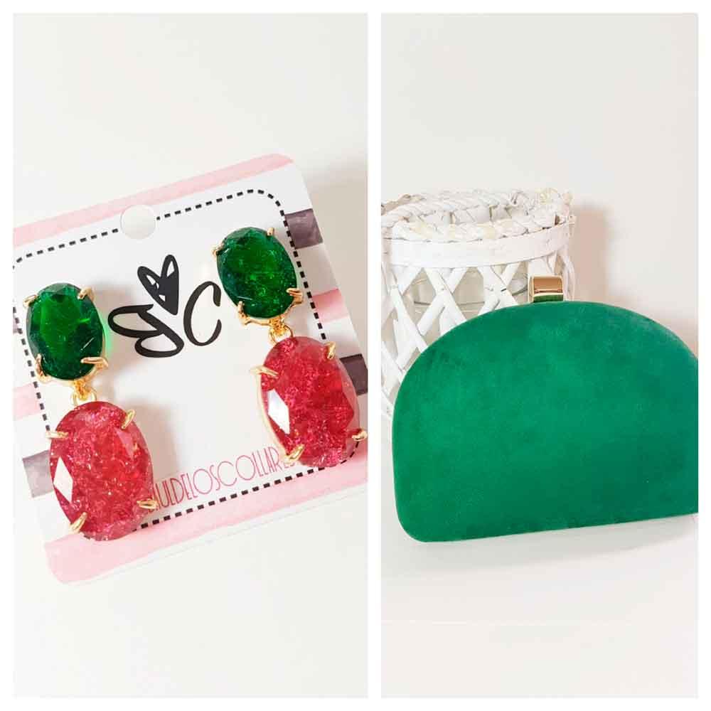 complementos verde y rosa