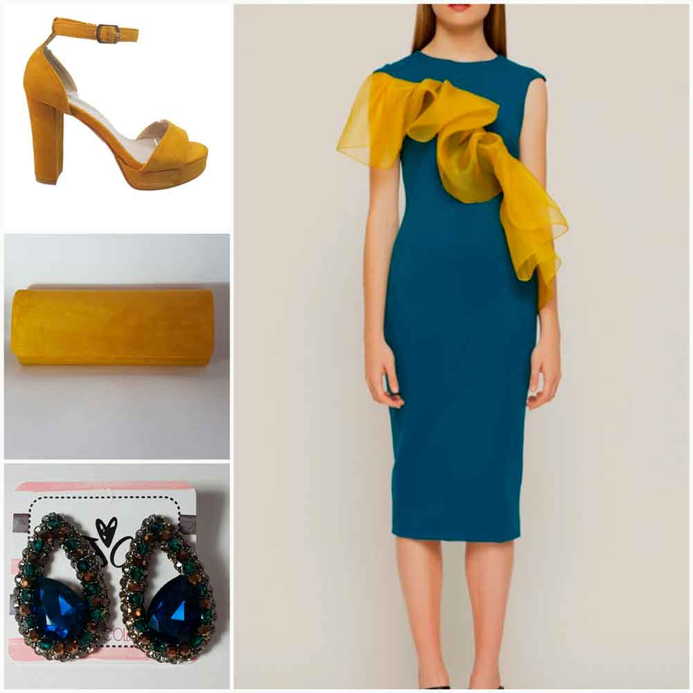 look de cocktail amarillo y azul
