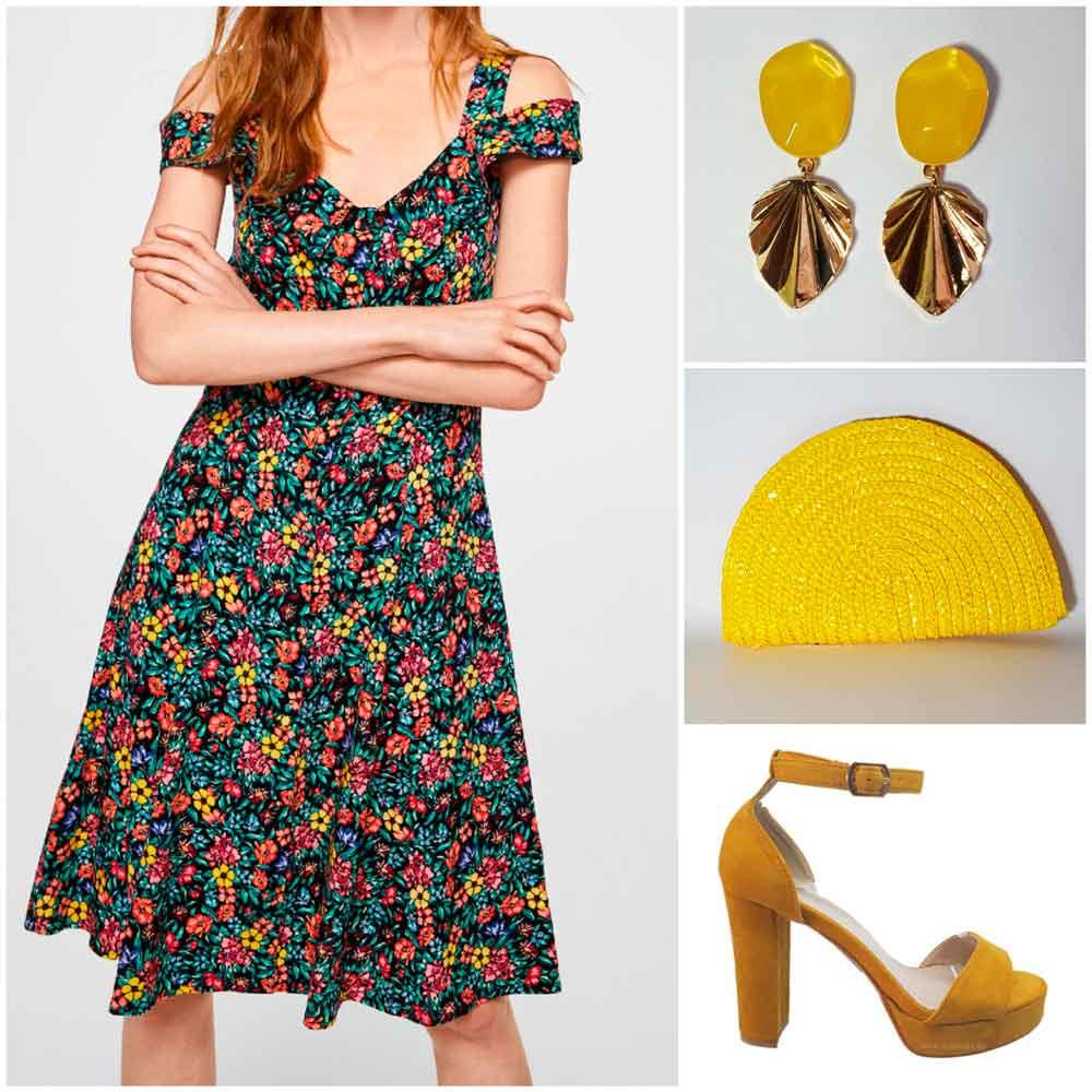 Vestido con complementos amarillos