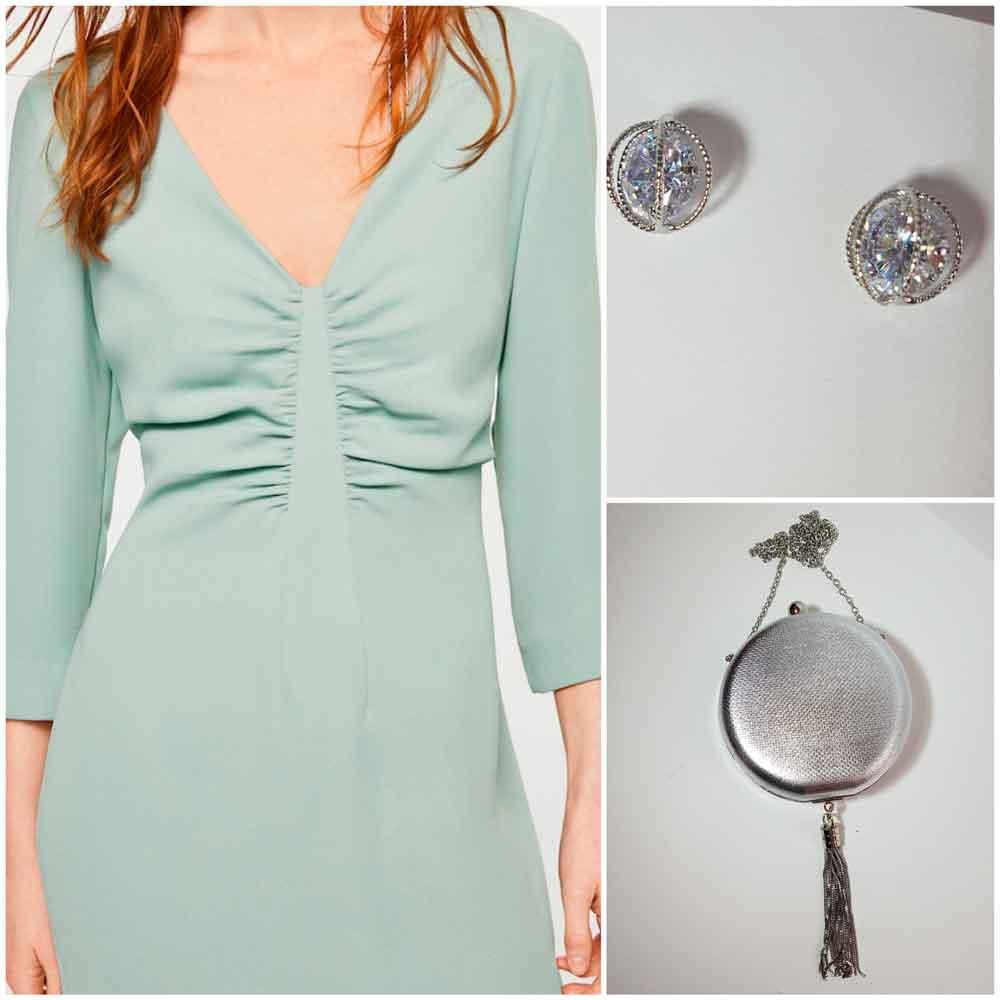 look verde con complementos plata
