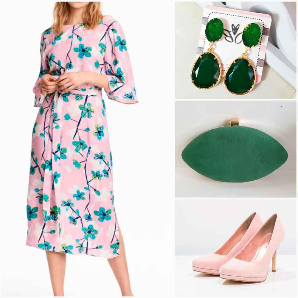 look verde y rosa claro