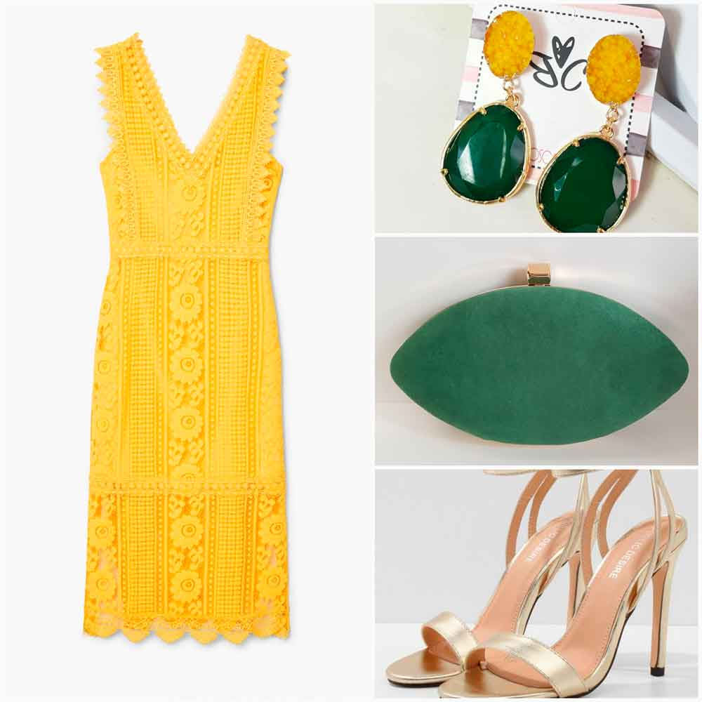 lookde cocktail amarillo y verde
