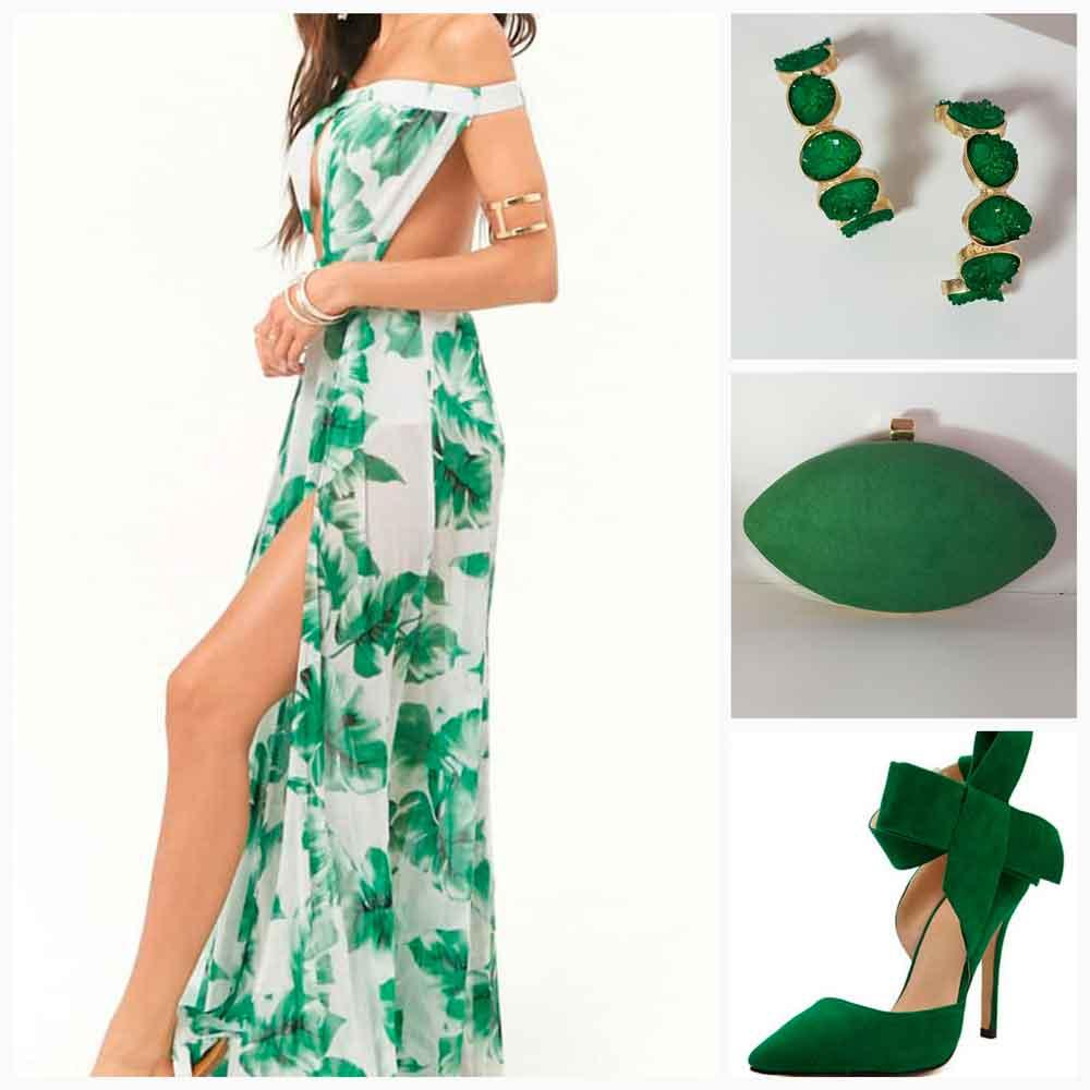 look con bolso verde