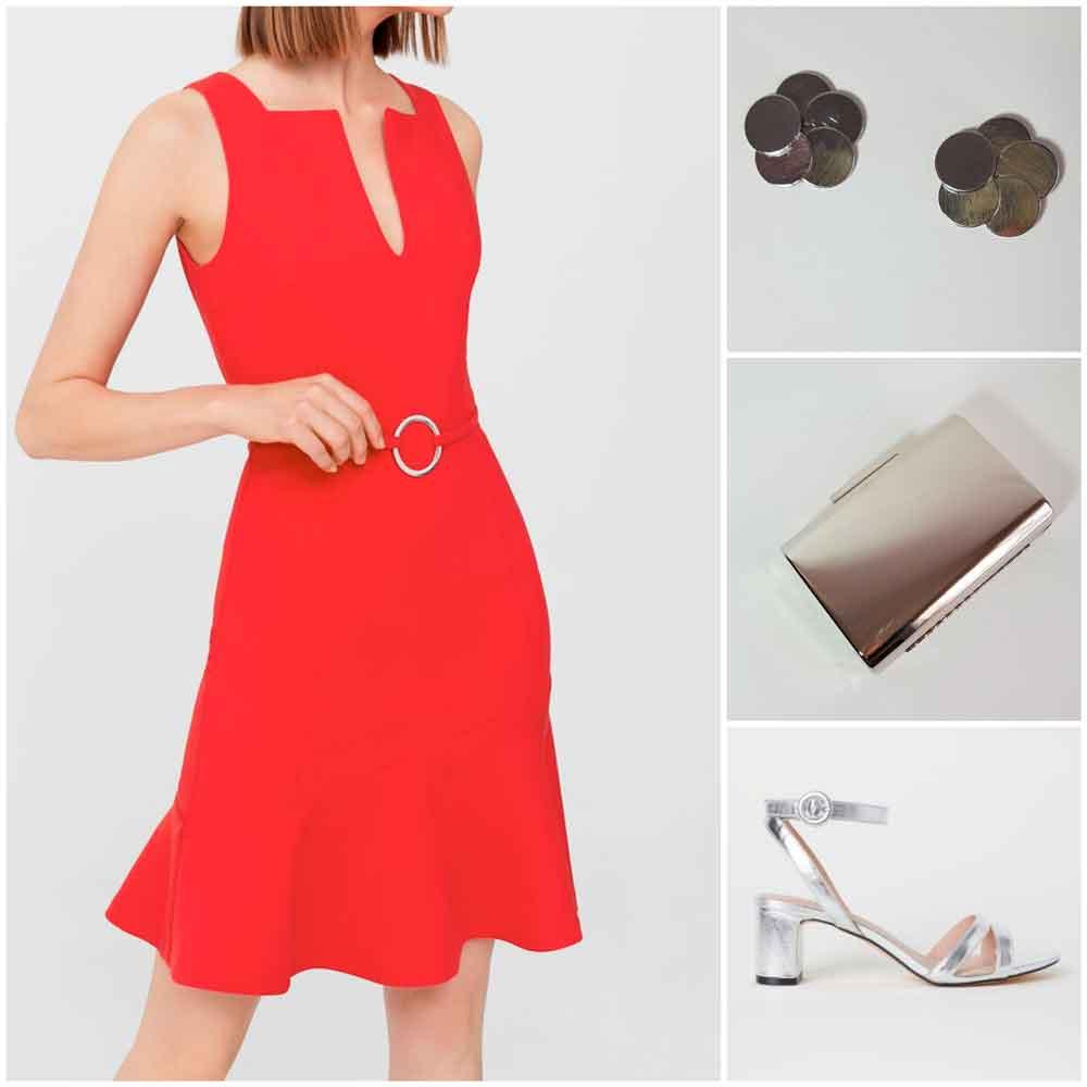 Vestido rojo con complementos plateados
