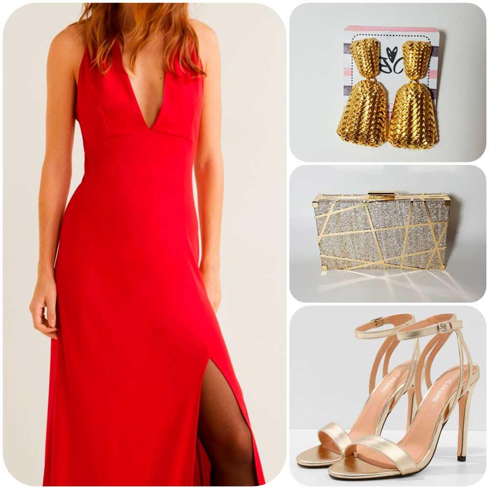 look con vestido rojo largo