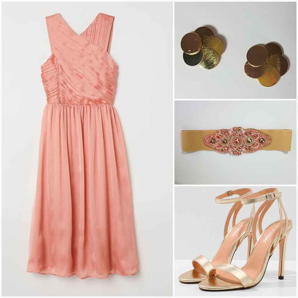 look rosa con cinturón de pedreria