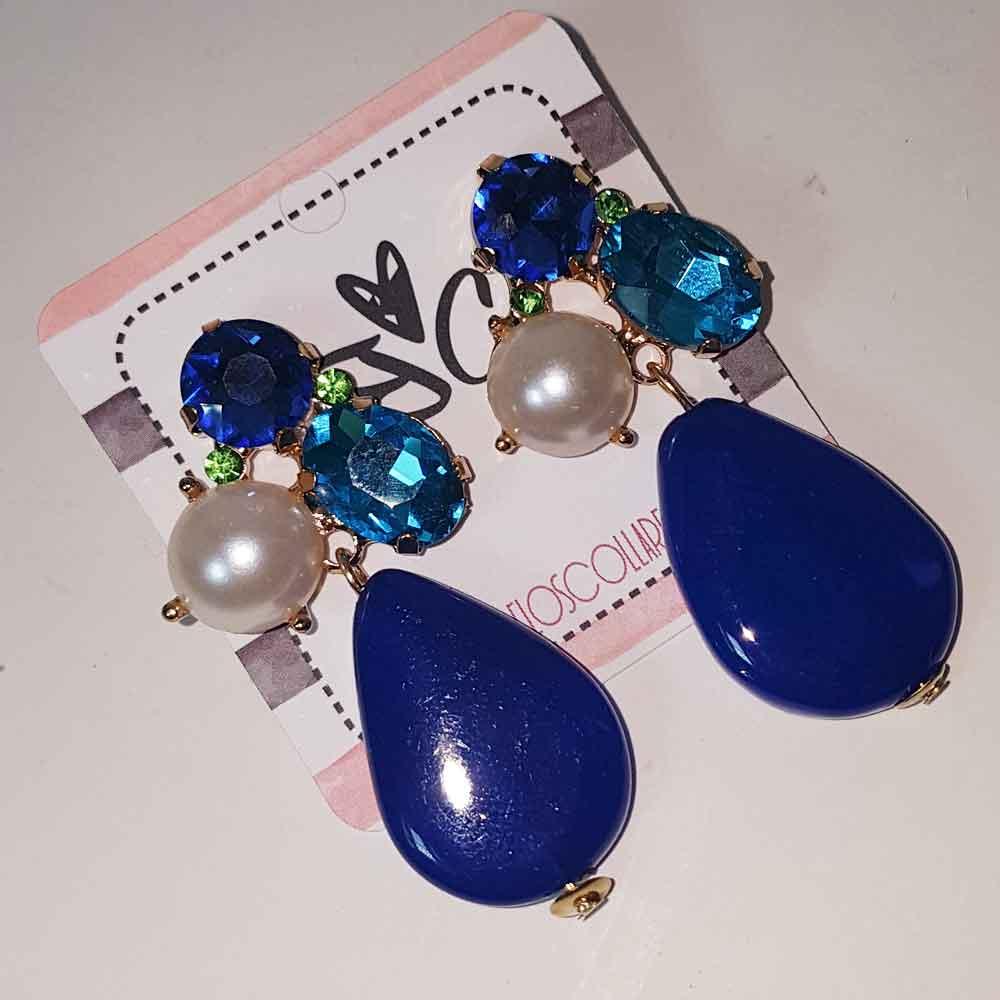 pendientes azules cristal y piedra natural